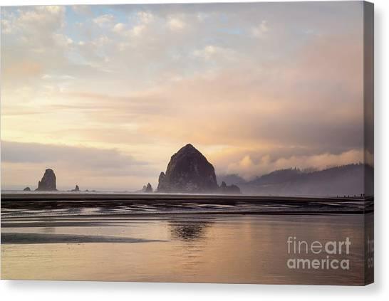 Haystack Rock After The Rain Canvas Print