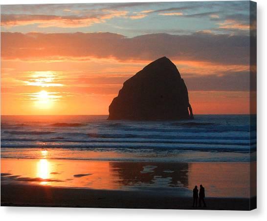 Haystack Rock At Sunset Canvas Print