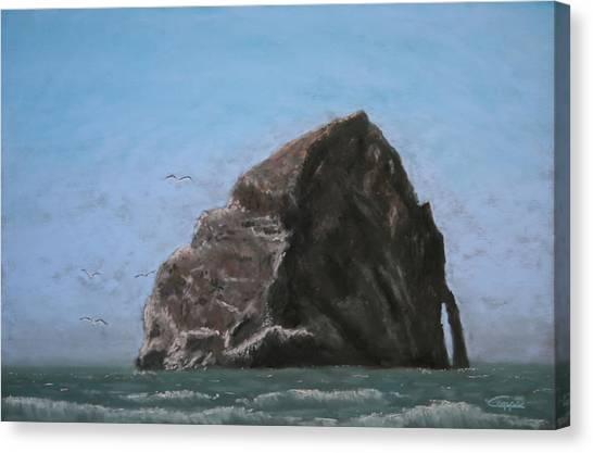 Haystack Rock  Canvas Print by Carl Capps