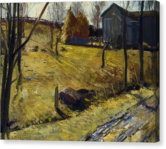 Bellows Canvas Print - Haystacks And Barn by George Bellows
