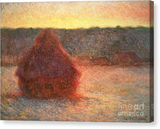 Hay Bales Canvas Print - Haystacks At Sunset by Claude Monet