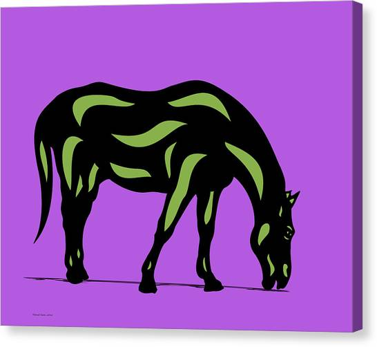 Hazel - Pop Art Horse - Black, Greenery, Purple Canvas Print