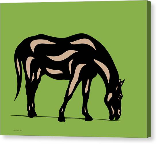 Hazel - Pop Art Horse - Black, Hazelnut, Greenery Canvas Print