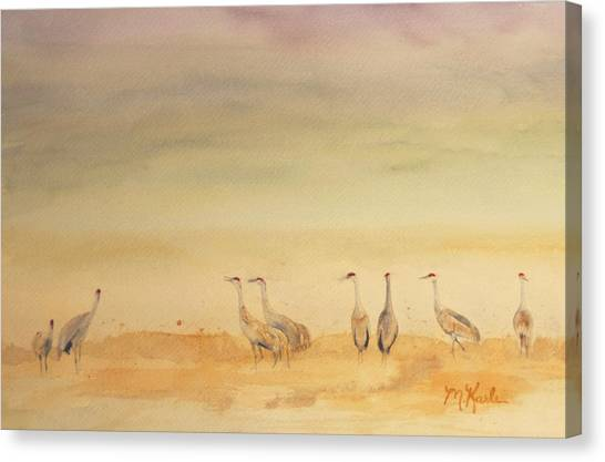Hazy Days Cranes Canvas Print