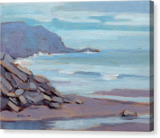 Canvas Print featuring the painting Hazy Morning At Moro Beach  by Konnie Kim