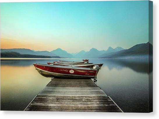 Mountain Ranges Canvas Print - Hazy Reflection // Lake Mcdonald, Glacier National Park by Nicholas Parker