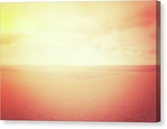 Sandy Desert Canvas Print - Hazy Sand Dunes In Red Glow by GoodMood Art