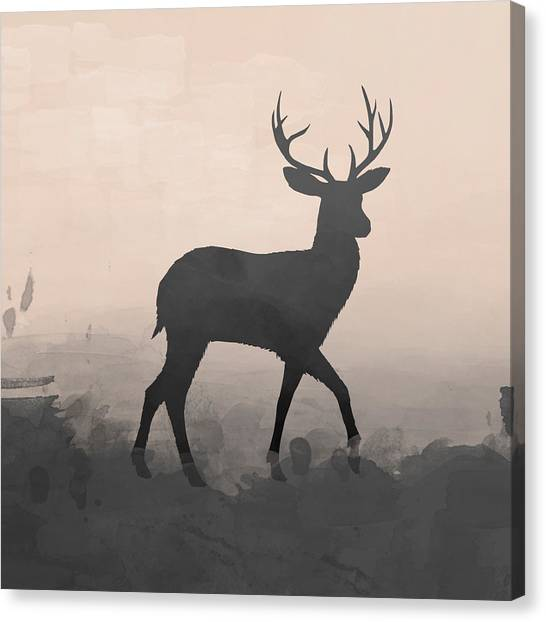 Canvas Print - Silhouette Stag 1 by Amanda Lakey