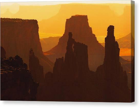 Hazy Sunrise Over Canyonlands National Park Utah Canvas Print