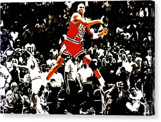 Utah Jazz Canvas Print - Michael Jordan Sweet Victory by Brian Reaves