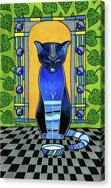 He Is Back - Blue Cat Art Canvas Print