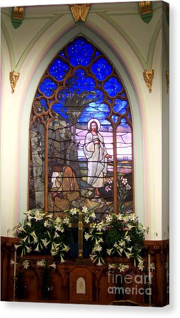 He Is Risen Stained Glass Window Canvas Print