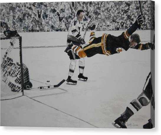 Bobby Orr Canvas Print - He Scores by Betty-Anne McDonald