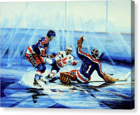 Hockey Players Canvas Print - He Shoots by Hanne Lore Koehler