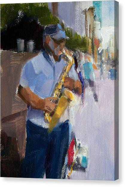 He Was Playing Real Good For Free Canvas Print by Merle Keller