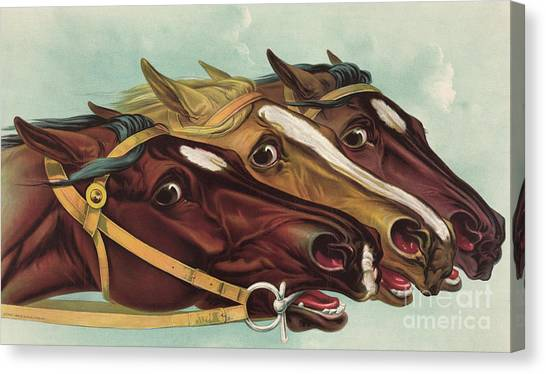 Finish Line Canvas Print - Head And Head At The Winning Post by Currier and Ives