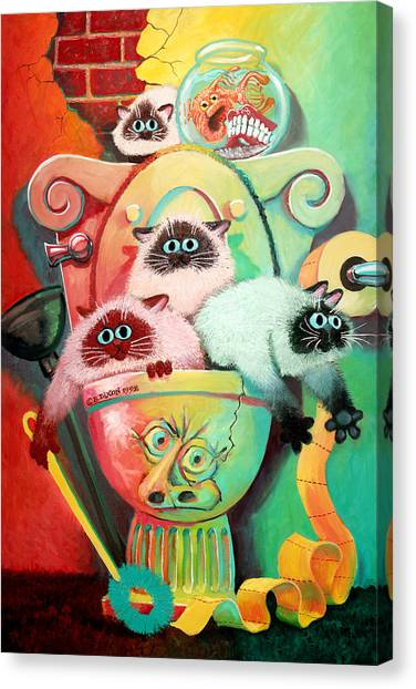 Goldfish Canvas Print - Head Cleaners by Baron Dixon