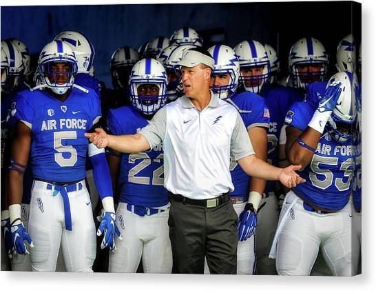 Troy University Troy Canvas Print - Head Coach Troy Calhoun And The Air Force Academy Falcons by Mountain Dreams