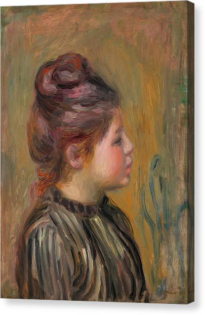 Pierre-auguste Renoir Canvas Print - Head Of A Girl by Pierre-Auguste Renoir