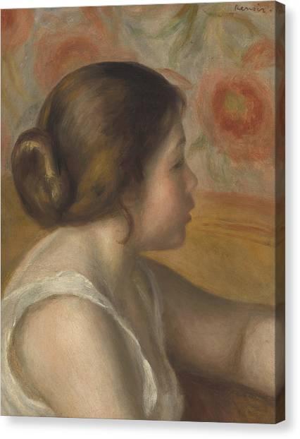 Pierre-auguste Renoir Canvas Print - Head Of A Young Girl by Pierre Auguste Renoir