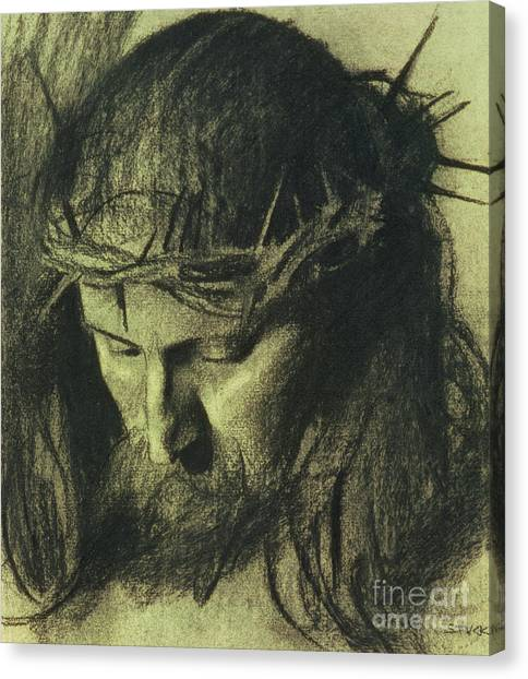 Religious Canvas Print - Head Of Christ by Franz Von Stuck