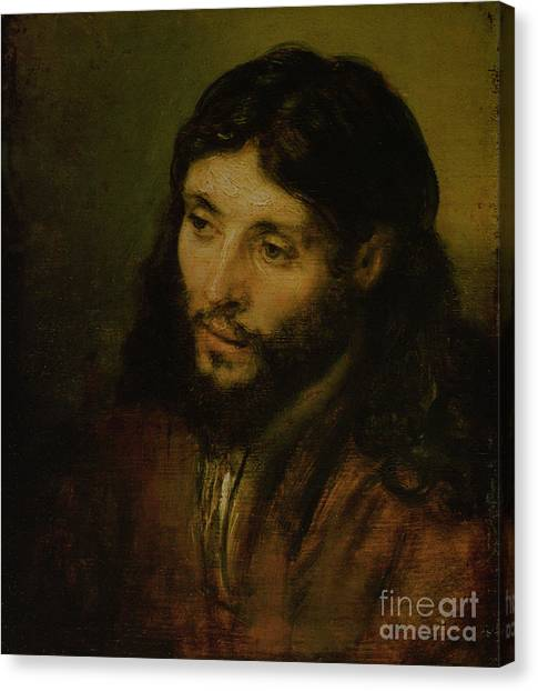 Oil On Canvas Print - Head Of Christ by Rembrandt