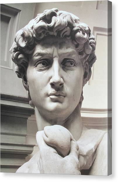 The Uffizi Gallery Canvas Print - Head Of David By Michelangelo by Carl Purcell