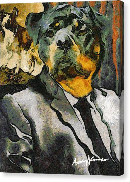 Rottweilers Canvas Print - Head Of Security by Anthony Caruso