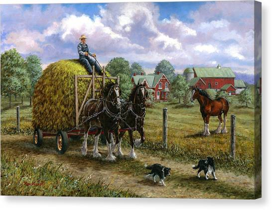 Draft Horses Canvas Print - Heading For The Loft by Richard De Wolfe