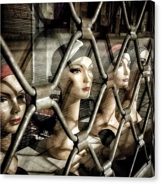 Head Canvas Print - Heads' Cage #shop #manequin #window by Rafa Rivas