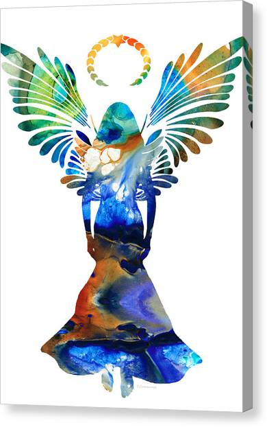 Angel Canvas Print - Healing Angel - Spiritual Art Painting by Sharon Cummings