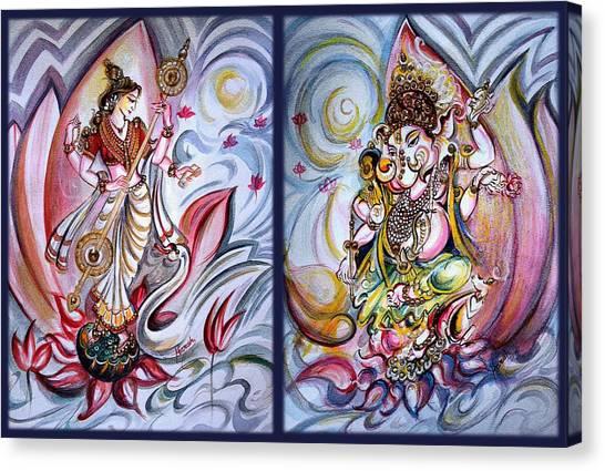 Healing Art - Musical Ganesha And Saraswati Canvas Print