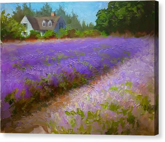 Impressionistic Lavender Field Landscape Plein Air Painting Canvas Print
