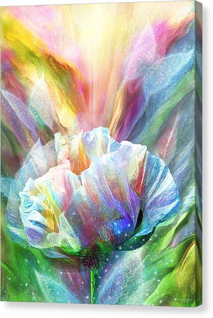 Canvas Print featuring the mixed media Healing Poppy With Butterflies by Carol Cavalaris