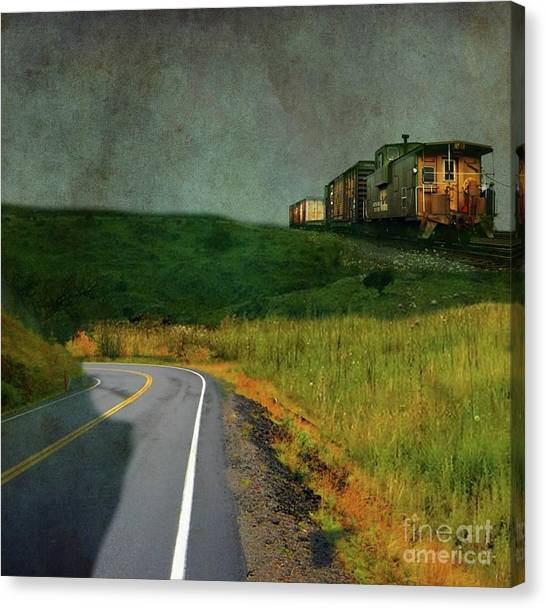 Freight Trains Canvas Print - Hear The Ghostly Voice Of The Hobo by AJ Yoder