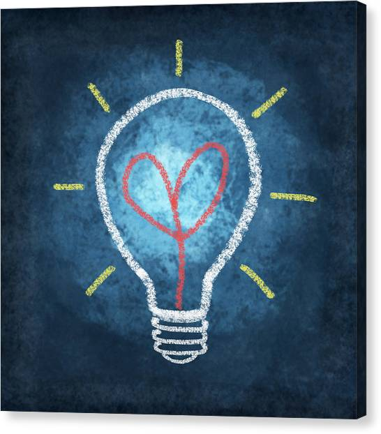 Offices Canvas Print - Heart In Light Bulb by Setsiri Silapasuwanchai