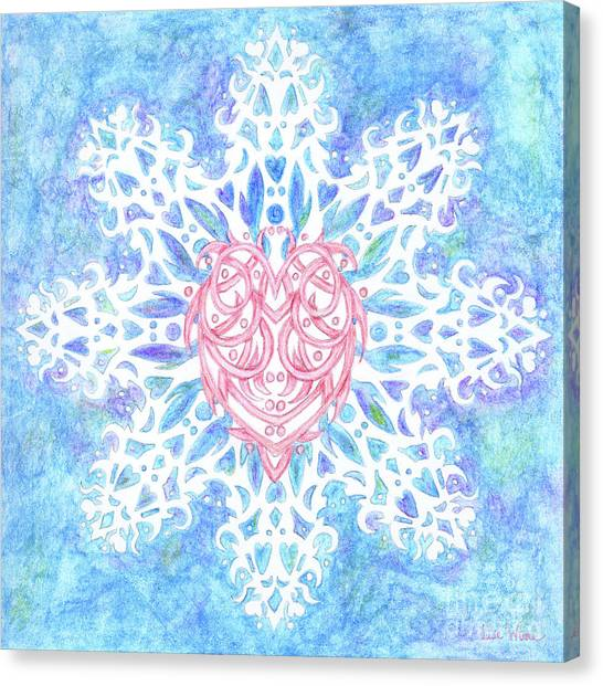 Heart In Snowflake Canvas Print