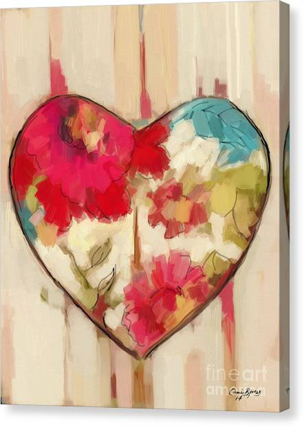 Love Canvas Print - Heart In Stitches by Carrie Joy Byrnes