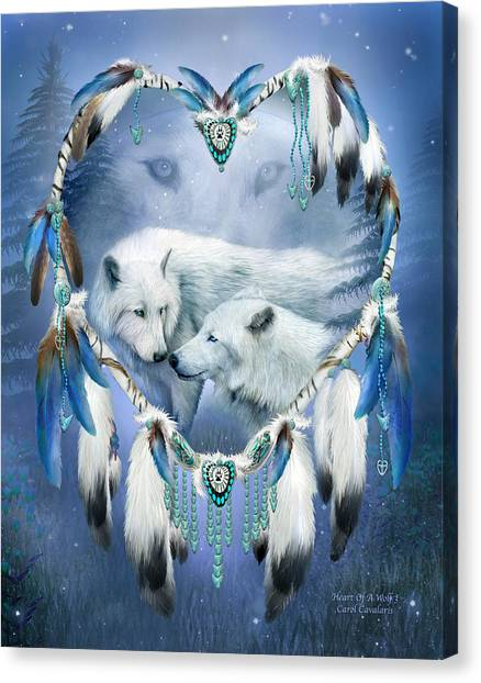 Canvas Print featuring the mixed media Heart Of A Wolf 3 by Carol Cavalaris