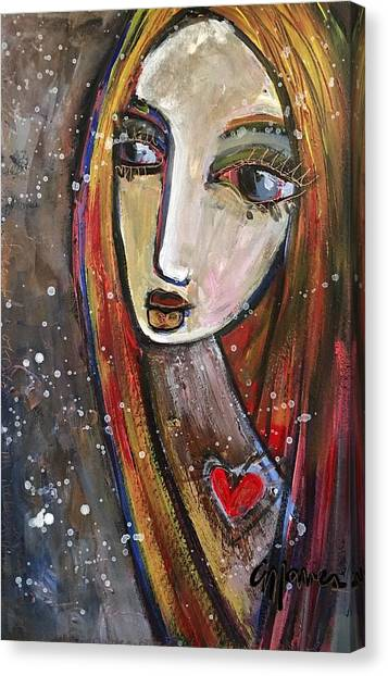 Canvas Print featuring the painting Heart Of Gold by Laurie Maves ART