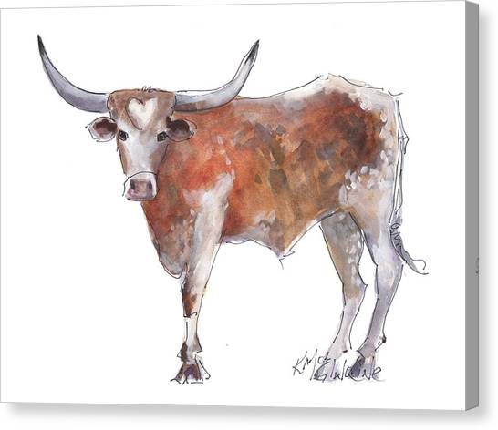 Cow Canvas Print - Heart Of Texas Longhorn by Kathleen McElwaine