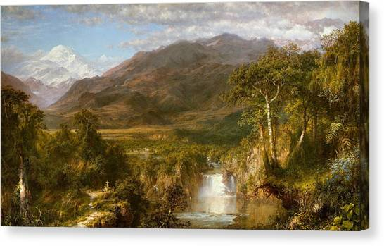 Andes Mountains Canvas Print - Heart Of The Andes by Frederic Edwin Church