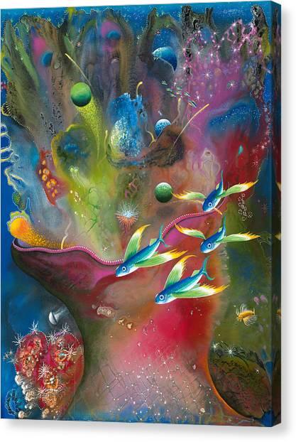 Angel Mermaids Ocean Canvas Print - Heart Of The Reef by Lee Pantas