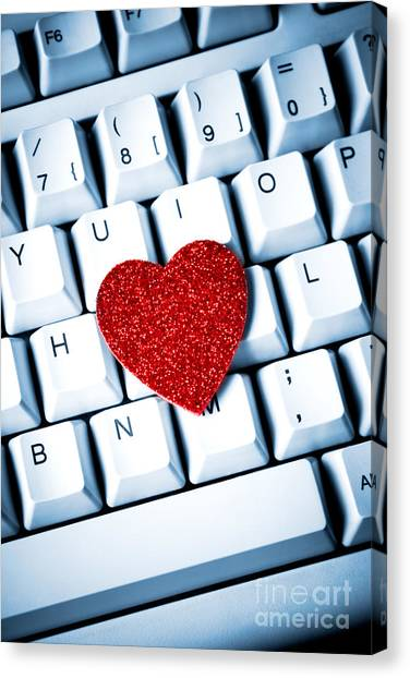 Heart On Keyboard Canvas Print