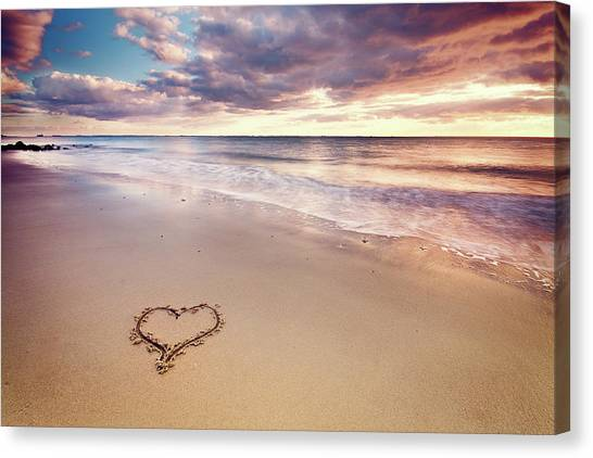 Sands Canvas Print - Heart On The Beach by Elusive Photography