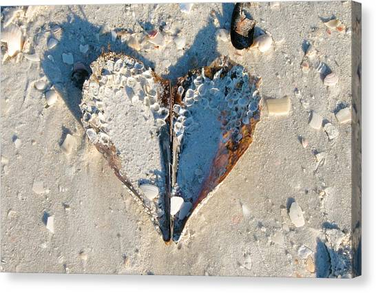 Heart On The Beach Canvas Print