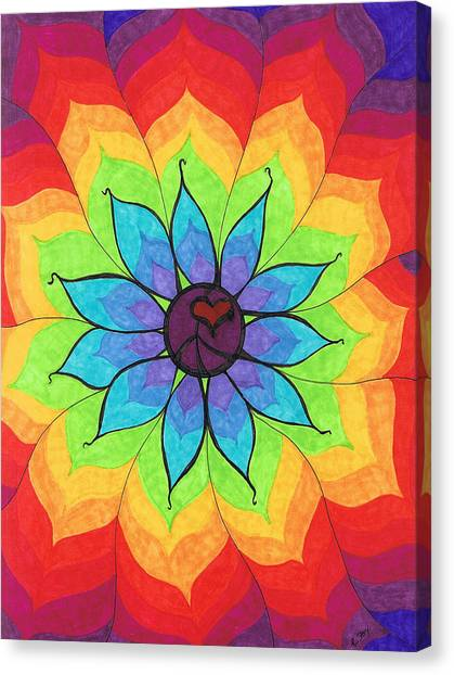Heart Canvas Print - Heart Peace Mandala by Cheryl Fox
