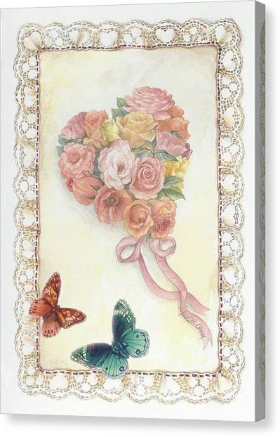 Canvas Print featuring the painting Heart Shape Bouquet With Butterfly by Judith Cheng