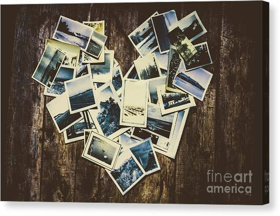 Vintage Polaroid Canvas Print - Heart-shaped Instant Photographs On Wooden Background by Jorgo Photography - Wall Art Gallery