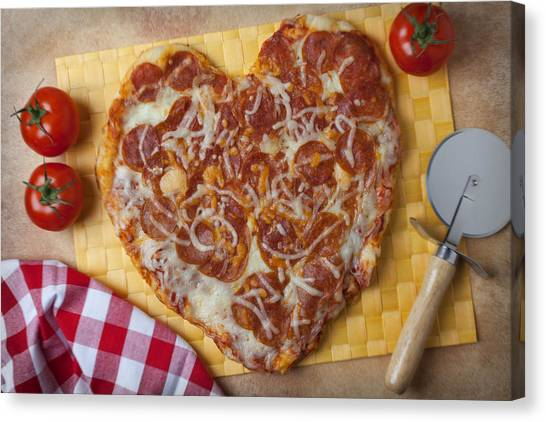 Pizza Canvas Print - Heart Shaped Pizza by Garry Gay